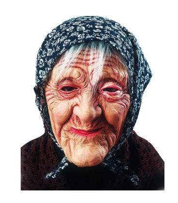 Maschera Befana in lattice fazzoletto e capelli