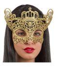 Maschera in tessuto intagliato glitter oro e corona
