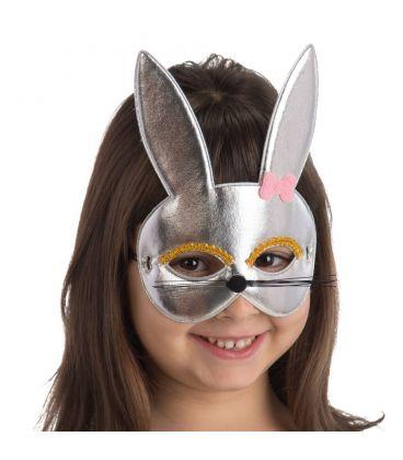 Maschera coniglietta argento bimba in tessuto metallizzato