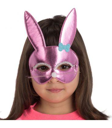 Maschera coniglietta rosa bimba in tessuto metallizzato