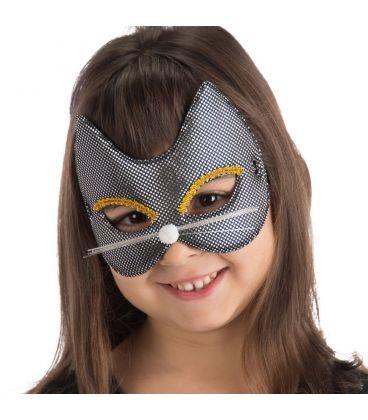 Maschera gattina nera bimba in tessuto metallizzato