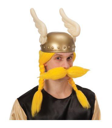Parrucca vikingo gialla baffi