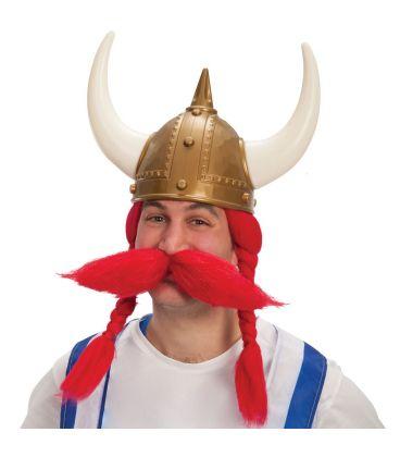 Parrucca vikingo rossa baffi