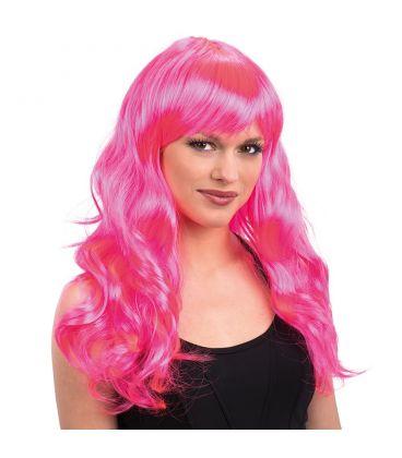 Parrucca lunga mossa frangia rosa fluo