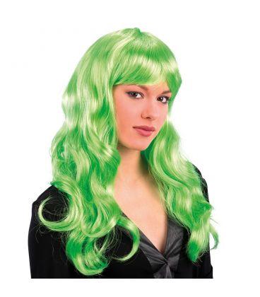 Parrucca lunga mossa frangia verde fluo