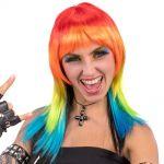 Parrucca arcobaleno lunga liscia frangia