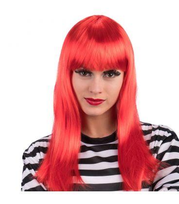 Parrucca lunga liscia rossa frangia