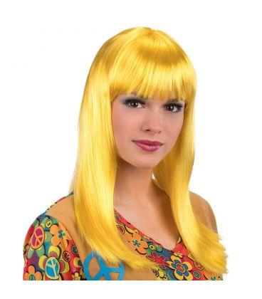 Parrucca lunga liscia gialla frangia