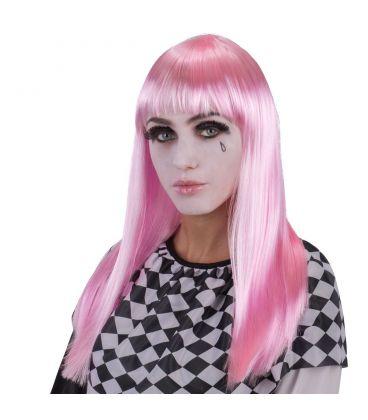 Parrucca lunga liscia rosa frangia