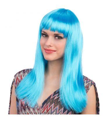 Parrucca lunga liscia azzurra frangia