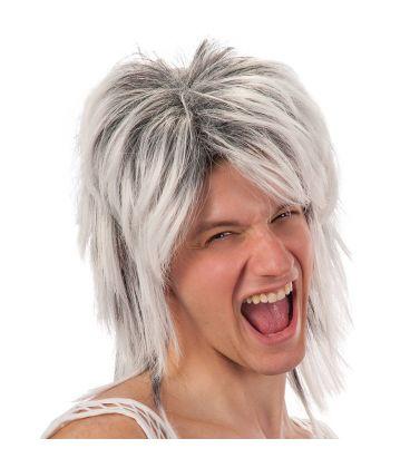 Parrucca rocker bianca e nera