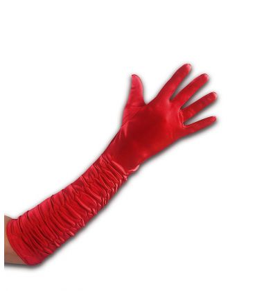 Guanti rossi in raso arricciato l. cm. 45 ca.