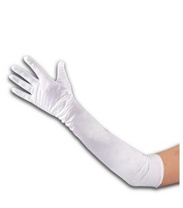 Guanti bianchi in raso elasticizzato l. cm. 50 ca.