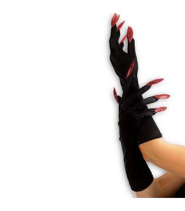 Guanti neri unghie rosse glitter l. cm. 40 ca.
