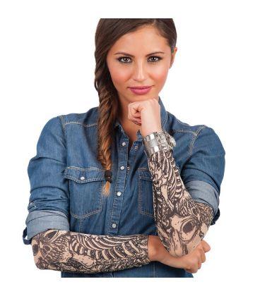 2 maniche tattoo stampa scheletro T.U.