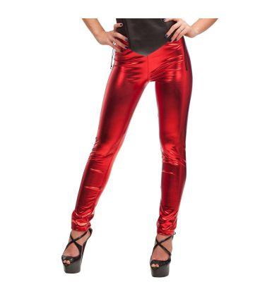 Leggings rosse in tessuto elasticizzato lucido T.U.