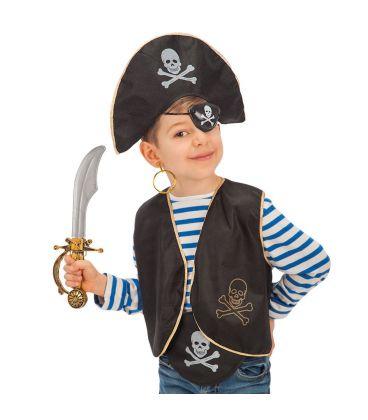 Set pirata bimbo (cappello, benda,gilet, orecchino,spada e cintura)
