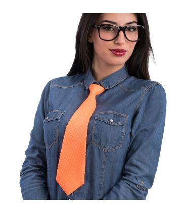 Cravatta in raso e paillettes arancione fluo elastico