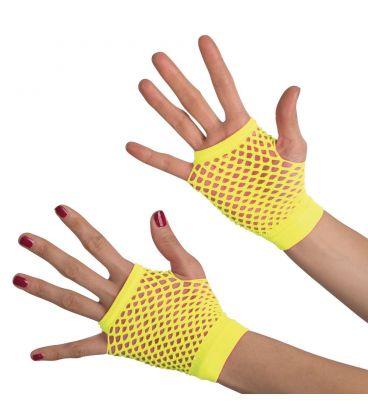 Guanti giallo fluo a rete (senza dita) corti