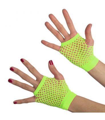 Guanti verde fluo a rete (senza dita) corti