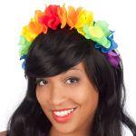 Cerchietto fiori in stoffa arcobaleno
