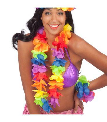 Collana fiori in stoffa arcobaleno