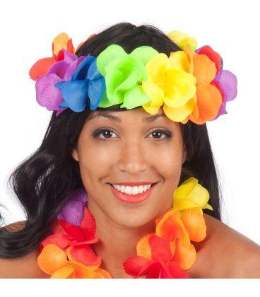 Frontalino fiori in stoffa arcobaleno