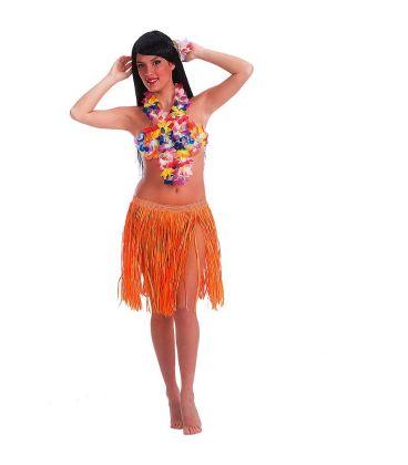 Gonna Hawaii arancione fluo in rafia l. cm. 45 ca.