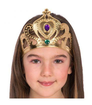 Coroncina principessa oro in tessuto con elastico
