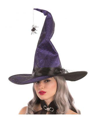 Cappello strega viola modellabile in tessuto ragni h. cm. 50 ca.