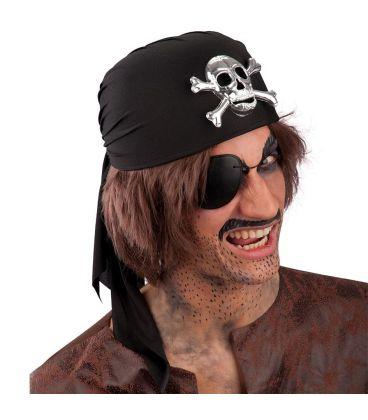 Bandana pirata lusso nera teschio