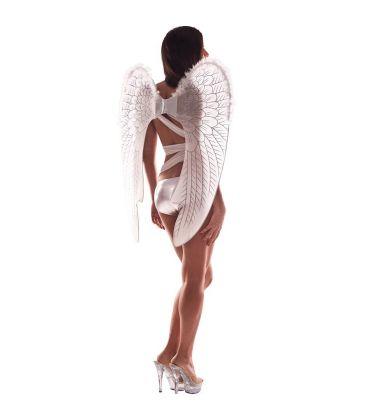 Ali angelo bianche bordo in marabout e glitter h. cm. 78x65 ca.