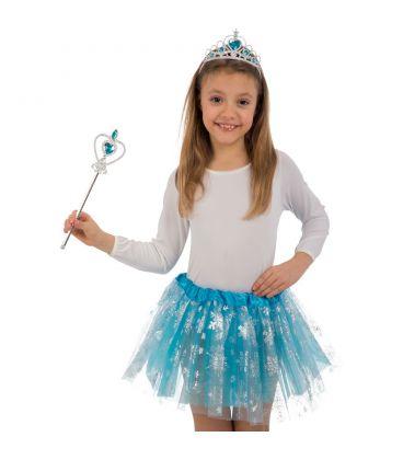 Set principessa dei ghiacci (cerchietto,gonna e bacchetta )