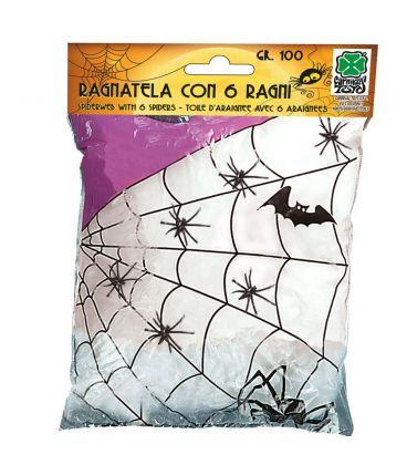 Ragnatela bianca 6 ragni gr. 100 ca.