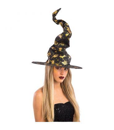 Cappello strega nero dec.oro (modellabile) h. cm. 67 ca.