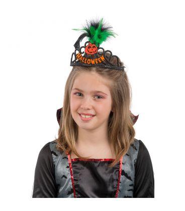 Coroncina Halloween in plastica nera dec.arancioni rifrangenti e piume
