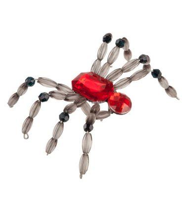 Anello ragno perline e pietra rossa