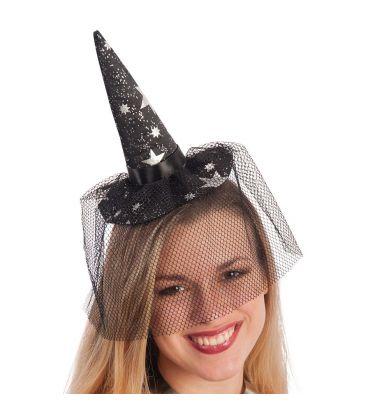 Mini cappello strega nero stelline e veletta cerchietto h. cm. 18 ca ... 3eb4c6405376
