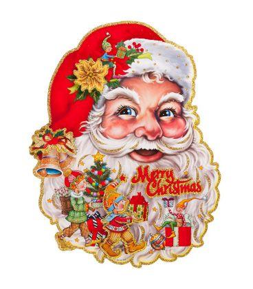 Immagini Natale Glitter.Poster Babbo Natale In Carta In Rilievo Glitter H Cm 60x50 Ca