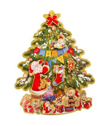 Immagini Glitterate Di Natale.Poster Albero Di Natale In Carta In Rilievo Glitter H Cm 60x50 Ca