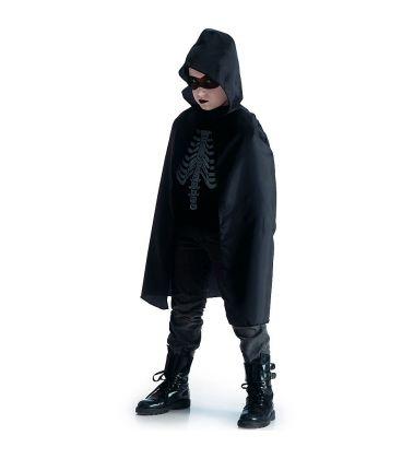 Mantello nero cappuccio in taffetas l. cm. 80 ca.