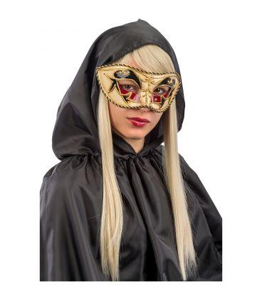 Maschera veneziana in plastica dec.rosse e nere passamaneria