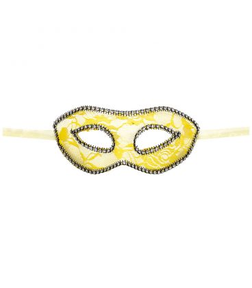 Maschera in plastica rigida pizzo giallo e strass