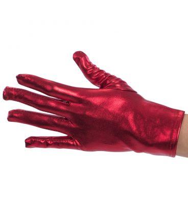 Guanti rossi metallizzati l. cm. 22 ca.