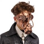Maschera antigas steampunk color bronzo in plastica rigida