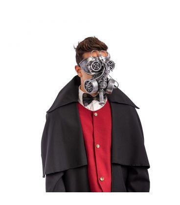 Maschera antigas steampunk grigia in plastica rigida