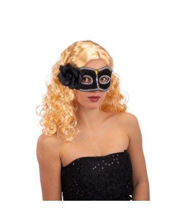Maschera nera in plastica c/fiore