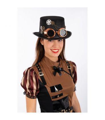 Cilindro nero steampunk in feltro c/occhiali h.cm.12 ca.