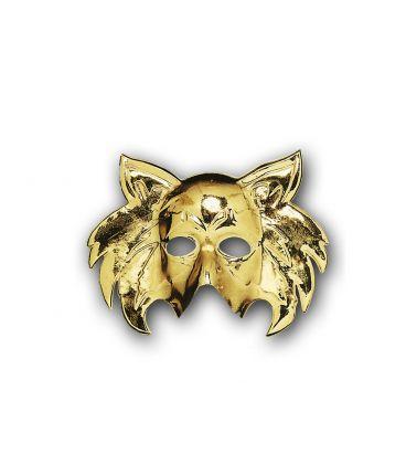Maschera gatto oro in plastica con cartellino/etichetta