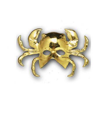 Maschera granchio oro in plastica con cartellino/etichetta
